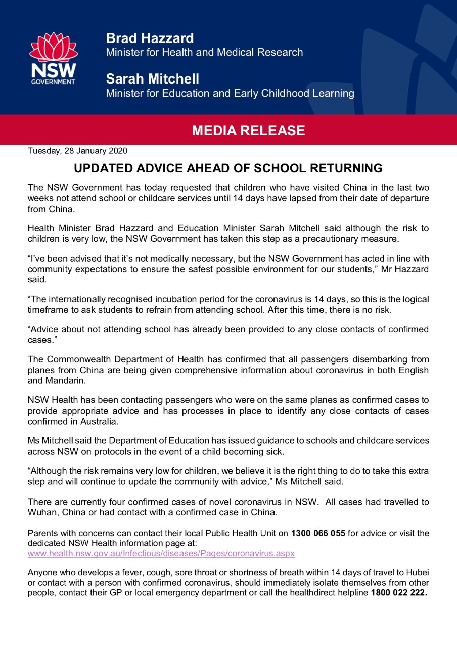 UPDATED ADVICE AHEAD OF SCHOOL RETURNING