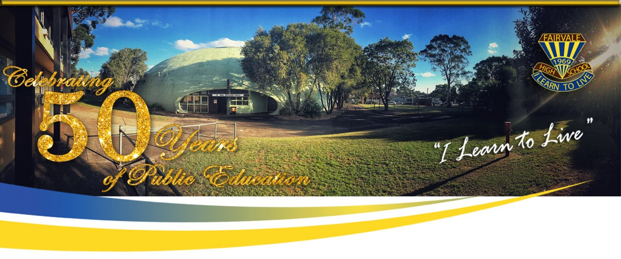 A welcome message showing a photo of the Fairvale High School Bini School Hall. There is a sun lens flair in the top right corner.
