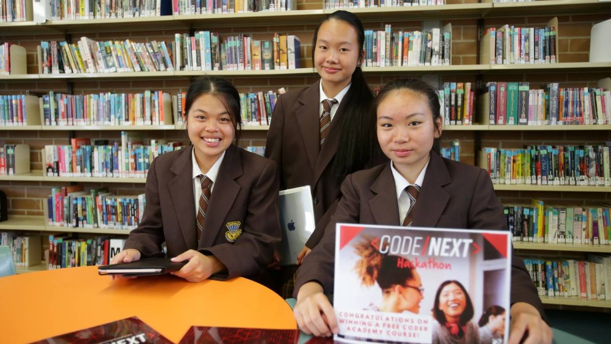 Fairvale High School year 9 students Helen, Christine and Grace were successful at the recent CodeNext Hackathon. Picture: Chris Lane