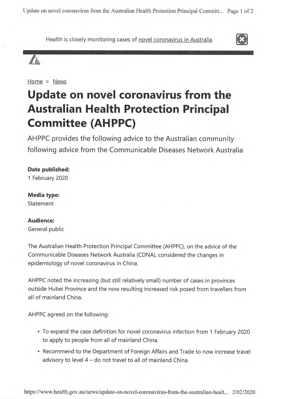 Update on novel coronavirus